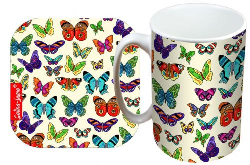 Selina-Jayne Butterfly Limited Edition Designer Mug and Coaster Gift Set